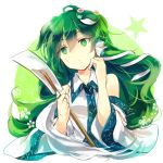 1girl bare_shoulders closed_mouth commentary detached_sleeves expressionless eyebrows_visible_through_hair flower frog_hair_ornament green_eyes green_hair hair_between_eyes hair_ornament hair_tubes head_tilt kochiya_sanae kutsuki_kai long_hair long_sleeves sleeveless snake_hair_ornament solo star touhou upper_body white_background white_flower wide_sleeves wing_collar