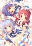 3girls :d :o animal_ears bangs blue_eyes blue_hair blush bow bowtie breasts clenched_hands commentary_request drill_hair fake_animal_ears finger_to_mouth gochuumon_wa_usagi_desu_ka? hair_ornament index_finger_raised jouga_maya kafuu_chino kneehighs light_blue_hair long_hair looking_at_viewer maid mitsumomo_mamu multiple_girls natsu_megumi open_mouth pink_scrunchie rabbit_ears red_eyes redhead short_sleeves smile striped striped_legwear striped_neckwear twin_drills wrist_cuffs x_hair_ornament yellow_eyes