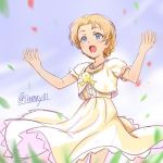 1girl bangs blue_eyes blurry blurry_foreground bow braid commentary cowboy_shot day depth_of_field dress formal frilled_dress frilled_sleeves frills girls_und_panzer lace lace-trimmed_dress medium_dress open_mouth orange_hair orange_pekoe outdoors outstretched_arms parted_bangs petals shinmai_(kyata) short_hair short_sleeves smile solo standing tied_hair twin_braids twitter_username wind yellow_bow yellow_dress