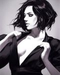 1girl breasts closed_eyes collarbone greyscale guweiz monochrome no_bra open_clothes open_shirt original parted_lips realistic short_hair short_sleeves small_breasts smile solo undressing upper_body