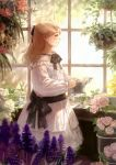 1girl absurdres black_neckwear black_ribbon blonde_hair bow bowtie closed_mouth dress flower hair_ribbon highres long_hair long_sleeves original pink_flower pink_rose plant potted_plant profile ribbon romiy rose smile standing watering_can white_dress window