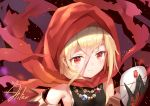 1girl aliter black_gloves blonde_hair evileye fang gloves hood jewelry mask mask_removed necklace overlord_(maruyama) red_eyes short_hair smile solo upper_body