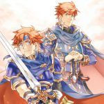 2boys armor blue_eyes breastplate cape father_and_son fire_emblem fire_emblem:_fuuin_no_tsurugi fire_emblem:_rekka_no_ken holding holding_sword holding_weapon looking_at_viewer multiple_boys pauldrons redhead smile sword weapon