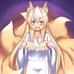 1girl :d alternate_costume animal_ears blonde_hair commentary_request fang fox_ears fox_tail green_eyes highres japanese_clothes kimono kitsune kyuubi long_hair looking_at_viewer mon-musu_quest! multiple_tails open_hands open_mouth ruinluin slit_pupils smile solo tail tamamo_(mon-musu_quest!) tattoo triangular_headpiece white_kimono