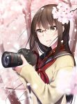 1girl :d blurry blurry_background blurry_foreground blush brown_hair buckle camera canon_(company) cardigan cherry_blossoms depth_of_field flower glasses highres holding holding_camera long_hair long_sleeves looking_at_viewer neckerchief nekobaka open_mouth original over-rim_eyewear petals pink_flower red-framed_eyewear red_neckwear school_uniform semi-rimless_eyewear serafuku sleeves_past_wrists smile solo spring_(season) tree two-handed upper_body yellow_cardigan