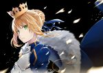1girl artoria_pendragon_(all) black_background blonde_hair blue_ribbon breastplate crown fate/stay_night fate_(series) fur_trim green_eyes hair_ribbon looking_at_viewer masabodo parted_lips ribbon saber short_hair_with_long_locks sidelocks simple_background solo upper_body