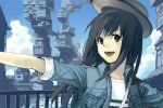 1girl :d bag black_eyes black_hair blue_jacket blue_sky clouds commentary_request copyright_request day hankuri hat jacket long_hair looking_at_viewer open_mouth outdoors shirt shoulder_bag sky smile solo white_shirt