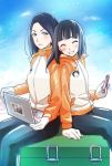 2girls ^_^ animal_print antarctica back-to-back black_hair blue_eyes blush box cellphone closed_eyes clouds cloudy_sky coat computer gloves grin holding holding_phone kobuchizawa_shirase laptop mole mole_under_eye multiple_girls niina_ryou pants phone sitting sitting_on_box sky smartphone smile sora_yori_mo_tooi_basho spoilers toudou_gin