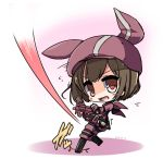 1girl animal_ears animal_hat bangs black_footwear boots brown_eyes brown_hair bullpup bunny_hat cabbie_hat commentary_request dated eyebrows_visible_through_hair flying_sweatdrops gloves gun hat holding holding_gun holding_weapon jacket knee_boots llenn_(sao) long_sleeves looking_at_viewer looking_to_the_side open_mouth p90 pants pink_gloves pink_hat pink_jacket pink_pants rabbit_ears shirasu_youichi short_hair solo standing standing_on_one_leg submachine_gun sword_art_online sword_art_online_alternative:_gun_gale_online thigh-highs weapon