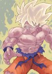 1boy aura blonde_hair blood dragon_ball highres male_focus muscle solo son_gokuu spiky_hair super_saiyan tesshii_(riza4828)