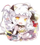 1girl :d a6m_zero adapted_costume ahoge aircraft airplane alternate_hairstyle ankle_cuffs artist_request braid chibi collar dress enemy_aircraft_(kantai_collection) fang floral_print flower hair_ornament handkerchief holding_object horns kantai_collection northern_ocean_hime open_mouth pale_skin petticoat red_kerchief sandals shinkaisei-kan side_braid sleeveless sleeveless_dress smile solo spiked_collar spikes twintails white_background white_dress white_hair yellow_eyes