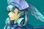 1girl blue_background blue_eyes blue_hair cape closed_mouth copyright_request curly_hair from_side hankuri hat head_wings simple_background smile solo translation_request upper_body