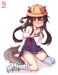 1girl animal_ears azur_lane black_hair blue_legwear brown_eyes commentary_request cosplay dated hat highres kanon_(kurogane_knights) kantai_collection logo long_hair looking_at_viewer mikazuki_(azur_lane) mikazuki_(azur_lane)_(cosplay) mikazuki_(kantai_collection) namesake off_shoulder open_clothes panties pantyshot sailor_collar school_hat simple_background sitting solo striped striped_legwear tail underwear very_long_hair wariza white_background white_panties wolf_ears wolf_tail