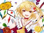 1girl :d ascot bangs bell_pepper blonde_hair blue_flower blue_ribbon blush choker commentary crystal daimaou_ruaeru eyebrows_visible_through_hair eyelashes fangs fingernails flandre_scarlet floral_print flower food frilled_shirt_collar frills fruit green_pepper hand_up hat hat_removed hat_ribbon headwear_removed highres lemon looking_at_viewer mob_cap nail_polish one_side_up open_mouth pepper petals purple_flower red_choker red_eyes red_flower red_nails red_ribbon ribbon short_hair short_sleeves side_ponytail simple_background slit_pupils smile solo squash tomato touhou upper_body vest water water_drop white_background white_hat wings wrist_cuffs yellow_flower yellow_neckwear