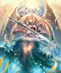 1girl blonde_hair eyebrows_visible_through_hair feathered_wings floating_hair from_below green_eyes highres hisakata_souji long_hair looking_at_viewer see-through shadowverse sleeveless smile solo sword very_long_hair weapon white_feathers white_wings wings