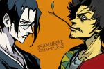 2boys afro black_eyes black_hair commentary_request earrings eye_contact facial_hair from_side glasses hankuri japanese_clothes jewelry jinnosuke limited_palette looking_at_another mouth_hold mugen multiple_boys over-rim_eyewear samurai_champloo sanpaku semi-rimless_eyewear stubble