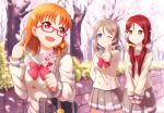 3girls alternate_hairstyle bag bespectacled blue_eyes bow branch brown_hair cherry_blossoms commentary_request double-breasted glasses grin hair_bow hair_ornament hair_scrunchie hairclip holding_branch love_live! love_live!_sunshine!! low_twintails multiple_girls one_eye_closed orange_hair pleated_skirt pointing pointing_at_self red_bow red_eyes redhead sakurauchi_riko school_bag school_uniform scrunchie serafuku short_twintails skirt smile spring_(season) takami_chika thumbs_up tree twintails uranohoshi_school_uniform watanabe_you yellow_bow yellow_eyes zi_long