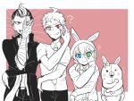 2boys 2girls ? ahoge animal_hood apron blue_eyes bunny_hood commentary_request danganronpa danganronpa_3 diaper flying_sweatdrops green_eyes grey_eyes height_difference heterochromia hinata_hajime hood jonet lineup monomi_(danganronpa) multiple_boys multiple_girls necktie outside_border pink_background pose rectangle red_eyes simple_background smile spoilers spot_color tanaka_gandamu trait_connection umesawa_aiko upper_body waist_apron yellow_eyes