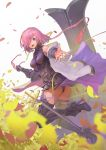 1girl armor armored_boots armored_dress ass boots breasts dress eyebrows_visible_through_hair fate/grand_order fate_(series) hair_over_one_eye high_heel_boots high_heels holding holding_eyewear jacket kawahara_ryuuta leaf leaves_in_wind looking_at_viewer mash_kyrielight medium_breasts off_shoulder open_mouth outstretched_arm pink_hair red_glasses shield short_hair simple_background sleeveless sleeveless_dress smile solo sword violet_eyes weapon white_background white_jacket