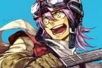 1girl :d blue_background brown_gloves copyright_name flcl gloves goggles goggles_on_headwear guitar hair_between_eyes hankuri haruhara_haruko helmet holding holding_instrument instrument long_sleeves open_mouth purple_hair scarf simple_background smile solo upper_body white_scarf