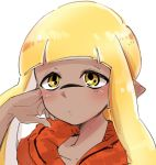 1girl bangs blunt_bangs blush closed_mouth commentary_request dark_skin domino_mask hand_in_hair inkling light_frown long_hair looking_at_viewer mask noshiro_(svnxyg) orange_shirt pointy_ears portrait shirt simple_background solo splatoon splatoon_1 symbol-shaped_pupils tentacle_hair white_background yellow_eyes