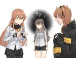 3girls ?? alternate_costume anger_vein armband bangs black_gloves black_legwear black_ribbon black_shorts blush bra breast_envy breasts brown_eyes brown_hair buttoning cleavage closed_mouth collared_shirt cosplay embarrassed eyebrows_visible_through_hair fingerless_gloves girls_frontline gloves green_eyes hair_between_eyes hair_ornament hair_ribbon hairclip highres holding holding_jacket hood hood_down hooded_jacket jacket large_breasts long_hair long_sleeves looking_at_another looking_down m1903_springfield_(girls_frontline) mimiyo multiple_girls one_side_up open_mouth pantyhose ribbon scar scar_across_eye scarf shaded_face shirt short_shorts shorts sidelocks simple_background sisters skirt sleeves_folded_up small_breasts smile sweatdrop thighs twins twintails ump45_(girls_frontline) ump45_(girls_frontline)_(cosplay) ump9_(girls_frontline) underwear white_background white_bra white_eyes white_shirt yellow_eyes