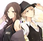 2girls back-to-back brown_hair character_name character_request commentary_request copyright_request earrings fedora haru_(haru2079) hat highres jewelry multiple_girls necktie niconico ring signature smile white_hair