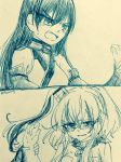 2girls 2koma anchor angry bare_shoulders blush breast_pocket breasts comic crying crying_with_eyes_open elbow_gloves eyebrows_visible_through_hair fingerless_gloves frown gloves hair_between_eyes hair_ornament halterneck kantai_collection long_hair machinery monochrome multiple_girls nagato_(kantai_collection) nami_nami_(belphegor-5812) neckerchief no_headgear pocket saratoga_(kantai_collection) short_sleeves side_ponytail sidelocks smokestack sweatdrop tears teeth traditional_media twitter_username wrist_grab