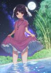 1girl absurdres an_skill animal_ears bamboo black_hair breasts brown_eyes bush carrot_necklace commentary_request d: dress dress_lift eyebrows_visible_through_hair eyelashes eyes_visible_through_hair fireflies floppy_ears frilled_dress frills full_moon highres holding_dress inaba_tewi lifted_by_self light_blush looking_at_viewer milky_way moon night night_sky open_mouth outdoors petticoat pink_dress puffy_short_sleeves puffy_sleeves rabbit_ears short_hair short_sleeves sky small_breasts solo standing star_(sky) starry_sky tareme thighs touhou tree wading water