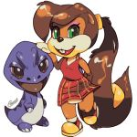 1girl berri bottomless brown_hair child chipmunk conker's_pocket_tales conker_(series) dinosaur dress furry green_eyes looking_at_viewer mblock no_humans ponytail rareware red_dress simple_background solo squirrel transparent_background twelve_tales:_conker_64 very_long_hair young
