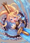 1girl blonde_hair blue_eyes blush charlotta_(granblue_fantasy) crown dress granblue_fantasy harvin highres holding holding_sword holding_weapon long_hair looking_at_viewer open_mouth pointy_ears solo sword tesshii_(riza4828) weapon