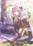 1boy astolfo_(fate) backpack bag bangs black_bow black_legwear black_ribbon black_shirt blanket boots bow braid branch buckle cape cherry_blossoms commentary_request dango day eating eyebrows_visible_through_hair falling_petals fang fate/apocrypha fate_(series) faulds floral_print food from_behind full_body fur-trimmed_cape fur_trim garter_straps gauntlets grass hair_between_eyes hair_bow hair_intakes hair_ribbon hanami highres holding holding_food knee_boots long_hair long_sleeves looking_at_viewer looking_back lunchbox male_focus motion_blur multicolored_hair outdoors petals picnic pink_hair pinky_out red_cape ribbon sanshoku_dango scabbard shadow sheath sheathed shiny shiny_hair shirt sidelocks single_braid solo spring_(season) squatting streaked_hair sunlight sushi sword tamu_(tamurarucaffe1226) thigh-highs trap tree tree_shade twisted_torso violet_eyes wagashi weapon white_cape white_footwear white_hair