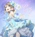 1girl birthday blue_eyes breasts character_name elbow_gloves english fingerless_gloves gloves happy_birthday highres light_brown_hair love_live! love_live!_sunshine!! medium_breasts short_hair solo surfing_orange tiara watanabe_you
