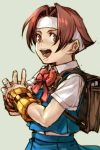 1girl :d backpack bag bangs blue_skirt blue_vest bow bowtie brown_hair collared_shirt commentary_request copyright_request detached_sleeves fist_in_hand from_side grey_background hankuri headband looking_at_viewer looking_to_the_side open_mouth parted_bangs pleated_skirt red_eyes red_neckwear school_bag school_uniform shirt short_hair short_sleeves simple_background skirt smile solo upper_body vest white_shirt wing_collar