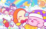 arms_behind_head backwards_hat baseball_cap bean_stalk blue_sky boom_microphone clouds commentary_request crescent_moon drooling gloves hat headphones hoshi_no_kirby kaboola kirby kirby_(series) moon mr._bright mr._shine noddy_(kirby) nose_bubble notepad official_art polka_dot rainbow sky sleeping sleeping_cap smile sun waddle_dee white_gloves