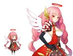 1girl aki_no_jikan black_gloves braid breasts character_request cleavage dress elbow_gloves gloves hair_ornament halo hand_on_hips long_hair looking_at_viewer maru-kichi medium_breasts multiple_views official_art pink_hair red_dress red_eyes standing twin_braids watermark white_wings wings
