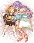 2girls artist_request blonde_hair blush bow braid character_doll closed_eyes hair_bow hair_ornament kami_jigen_game_neptune_v long_hair multiple_girls neptune_(series) pish purple_hair pururut short_hair single_braid sleeping socks striped striped_legwear thigh-highs very_long_hair