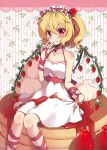 1girl :q alternate_headwear arm_ribbon bare_arms bare_shoulders beni_kurage blonde_hair blush collarbone commentary_request dress eyebrows_visible_through_hair feet_out_of_frame flandre_scarlet food fruit hair_between_eyes hairband halter_dress halterneck hand_to_own_mouth highres looking_at_viewer pancake red_eyes red_ribbon red_sash ribbon short_hair side_ponytail sitting smile solo strawberry striped striped_background syrup tongue tongue_out touhou vertical-striped_background vertical_stripes whipped_cream white_background white_dress wings