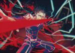 1boy blue_hair ebanoniwa electricity fate/stay_night fate_(series) foreshortening gae_bolg grin lancer long_hair male_focus polearm ponytail red_eyes smile solo spear weapon