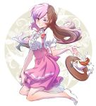 1girl anna_miller apron blouse brown_hair commentary_request cup frills heterochromia highres iesupa long_hair milk multicolored_hair name_tag neo_(rwby) pink_apron pink_eyes pink_hair pink_skirt rwby saucer skirt solo sugar_cube tea teacup tray violet_eyes waitress white_blouse