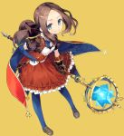 1girl blue_cape blue_eyes blue_gloves blue_legwear bow brown_hair cape cura dress elbow_gloves fate/grand_order fate_(series) gloves hair_bow hand_on_hip highres leonardo_da_vinci_(fate/grand_order) long_hair pantyhose ponytail red_cape red_dress ribbon shoes single_elbow_glove smile solo staff weapon