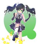 1girl alternate_costume alternate_hairstyle black_dress black_gloves black_hair black_skirt commentary_request dress gloves green_background green_eyes highres iesupa navel neo_(rwby) rwby short_shorts shorts skirt smile solo sparks star stepping twintails