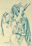2girls belt blush bodysuit buttons closed_eyes coat cowboy_shot dress eyebrows_visible_through_hair hair_between_eyes hair_ornament head_hug headgear hug kantai_collection kiss long_hair machinery monochrome multiple_girls nagato_(kantai_collection) nami_nami_(belphegor-5812) remodel_(kantai_collection) saratoga_(kantai_collection) short_sleeves side_ponytail smokestack traditional_media twitter_username yuri