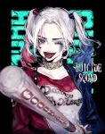 1girl ;d absurdres baseball_bat black_background blue_eyes blue_hair character_name choker clothes_writing collarbone copyright_name dc_comics eyebrows eyelashes eyeshadow facial_mark hair_intakes harley_quinn heart highres holding jacket lipstick long_hair long_sleeves looking_at_viewer makeup multicolored_hair one_eye_closed open_clothes open_jacket open_mouth ozyako red_lipstick redhead smile solo spikes suicide_squad teeth tongue tongue_out twintails unzipped upper_body zipper