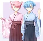 2boys animal_ears arm_up blue_eyes blue_hair blue_kimono brothers cat_ears commentary_request dog_ears genderswap genderswap_(ftm) hair_over_one_eye japanese_clothes kemonomimi_mode kimono multiple_boys nagifa pink_eyes pink_hair pink_kimono ram_(re:zero) re:zero_kara_hajimeru_isekai_seikatsu rem_(re:zero) short_hair siblings standing wide_sleeves