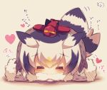 1girl bangs bird_tail black_hair blush chibi closed_eyes eyebrows_visible_through_hair facing_viewer fur-trimmed_sleeves fur_collar fur_trim grey_coat hair_between_eyes head_wings heart highres kemono_friends long_sleeves lying multicolored_hair muuran northern_white-faced_owl_(kemono_friends) on_stomach orange_hair outstretched_arms signature solo spread_arms toy toy_airplane translation_request white_hair