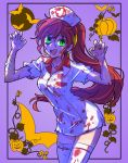 1girl bandaid bat blood blood_stain bloody_clothes commentary_request fang_out green_eyes halloween halloween_costume hat highres iesupa jack-o'-lantern nurse nurse_cap pumpkin pyrrha_nikos redhead rwby solo zombie