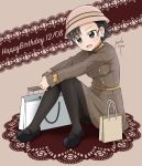 1girl absurdres alternate_costume alternate_hairstyle artist_name asymmetrical_bangs bag bangs black_eyes black_footwear black_hair black_legwear braid brown_background brown_dress brown_hat commentary dated doily dress earrings english eyebrows_visible_through_hair full_body girls_und_panzer happy_birthday hat highres jewelry leaning_forward leg_hug long_hair long_sleeves looking_at_viewer mary_janes nishi_kinuyo oldschool open_mouth pantyhose parda_siko pearl_earrings plaid plaid_dress shoes shopping_bag signature sitting smile solo tied_hair twin_braids