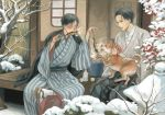 2boys alcohol animal bare_tree black_hair fish geta graphite_(medium) grey_eyes hakama japanese_clothes kimono male_focus multiple_boys new_year outdoors porch sake sitting skewer smoke snow striped traditional_media tree watercolor_(medium) white_legwear wide_sleeves window ying_zhang