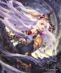 1girl :d arm_up armored_boots armpits ass bangs bare_shoulders black_bodysuit bodysuit boots breastplate claws cleavage_cutout cygames dragon elbow_gloves floating_rock from_behind gauntlets gloves granblue_fantasy greaves headgear highres hisakata_souji lavender_hair leaning_forward long_hair looking_at_viewer looking_back medusa_(shingeki_no_bahamut) open_mouth pointy_ears red_eyes red_gloves riding rock scales shingeki_no_bahamut shiny shiny_hair sitting smile snake_hair solo straddling tareme thigh-highs thigh_boots tongue tongue_out twisted_torso upper_teeth v-shaped_eyebrows very_long_hair watermark yellow_eyes